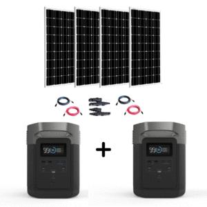 EcoFlow Delta 2 x 1800W Generators + 4 x 100 Watt 12V Mono Solar Panels